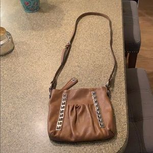 B Makowsky crossbody brown leather studded purse!